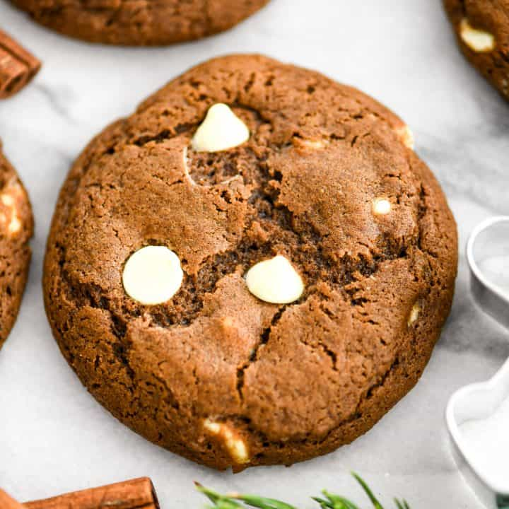 Overhead view of one White Chocolate Chip Gingerbread Cookie