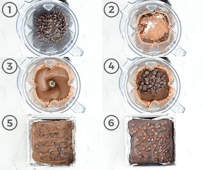 six overhead photos of the step-by-step process to show how to make black bean brownies