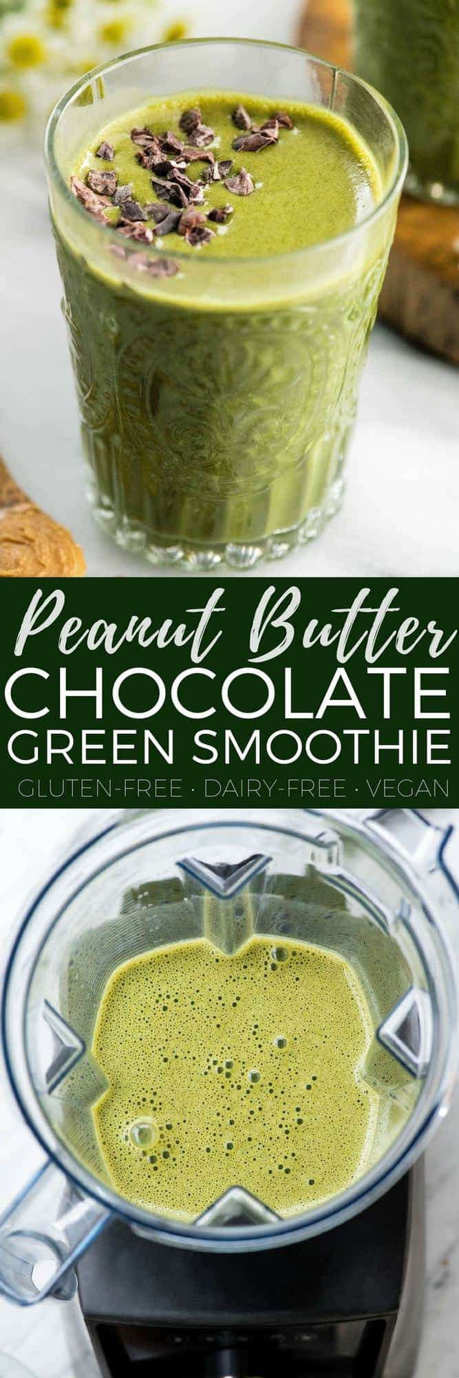 This Dairy-Free Chocolate Peanut Butter Smoothie with Spinach is a nutritional powerhouse that tastes like a liquid peanut butter cup! It's the perfect breakfast recipe and a great way to start any day! #greensmoothie #dairyfree #vegan #glutenfree #proteinpowder #chocolate #peanutbutter