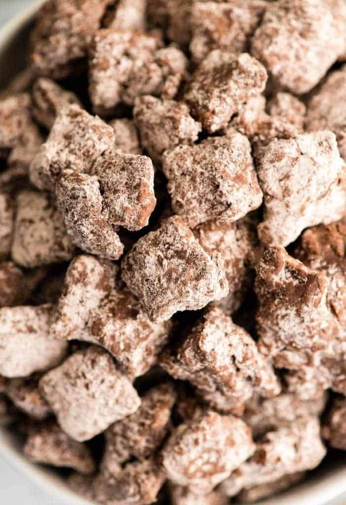 Close up overhead view of Dark Chocolate Puppy Chow