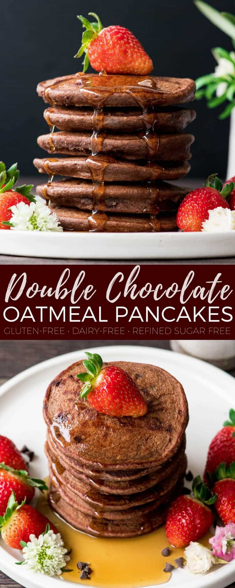 This Healthy Chocolate Pancakes Recipe is a special yet nutritious breakfast that is dairy-free & has no refined sugar! Because chocolate for breakfast is always a good choice! #pancakes #breakfast #glutenfree #dairyfree #chocolate #refinedsugarfree #healthyrecipe #recipevideo