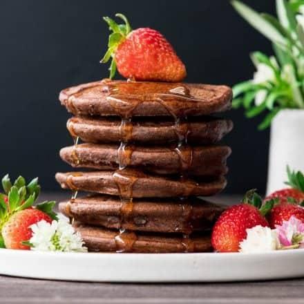 Gluten-free Double Chocolate Oatmeal Pancakes (& Video)
