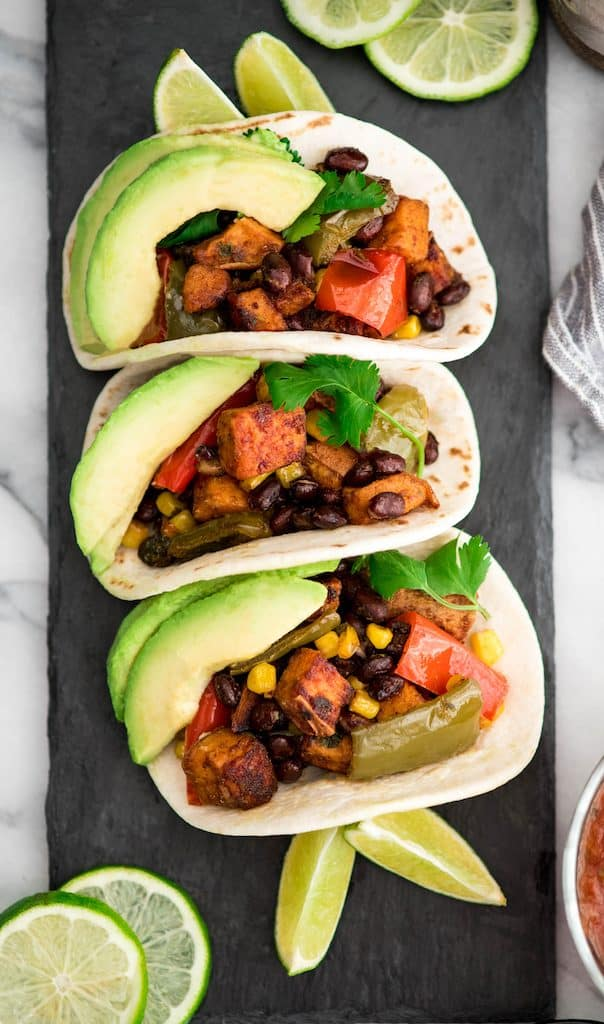 Overhead view of three Black Bean Sweet Potato Tacos
