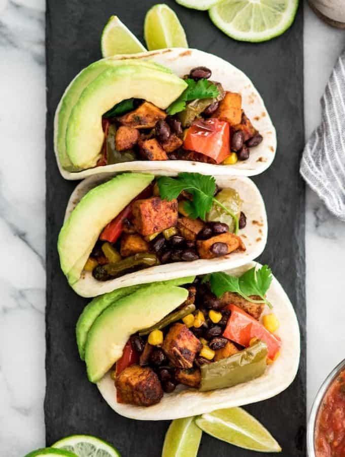 Honey Lime Black Bean Sweet Potato Tacos