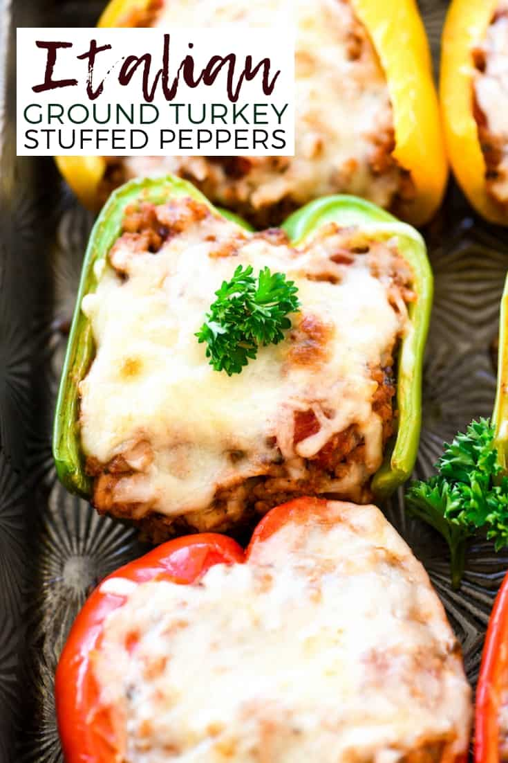 Ground Turkey Italian Stuffed Peppers are an easy & healthy dinner recipe! Ready in 40 minutes, this hearty main dish is sure to become a family favorite! #glutenfree #peppers #dinner #recipe #healthyrecipe #sponsored #quinoa #brownrice #NewYearNewGrain18