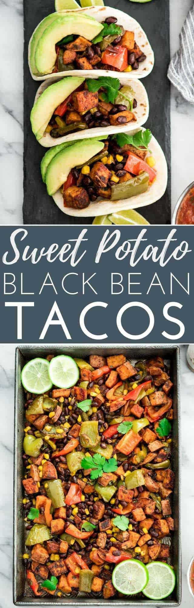 Honey Lime Roasted Black Bean Sweet Potato Tacos are the perfect vegetarian recipe for taco nights!  #glutenfree #vegetarian #tacos #sweetpotatoes #healthyrecipe #dairyfree #blackbeans #tacotuesday #taconight #eatseasonal