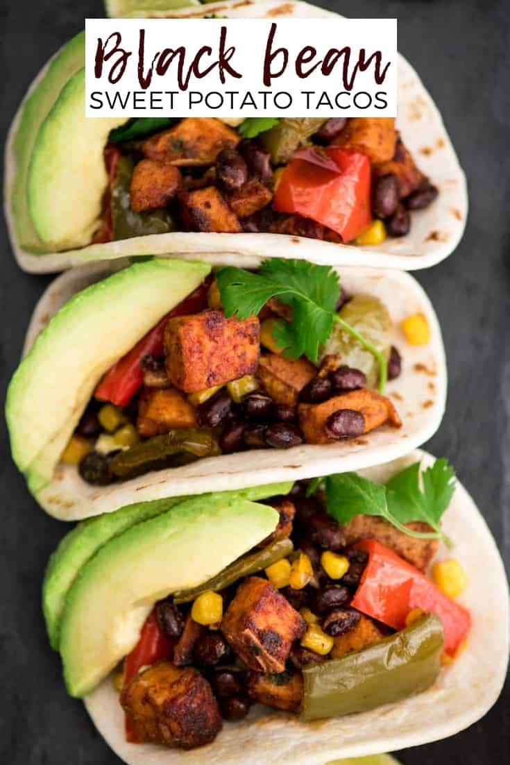 Honey Lime Roasted Black Bean Sweet Potato Tacos are the perfect vegetarian recipe for taco nights!  #glutenfree #vegetarian #tacos #sweetpotatoes #healthyrecipe #dairyfree #blackbeans #tacotuesday #taconight #eatseasonal