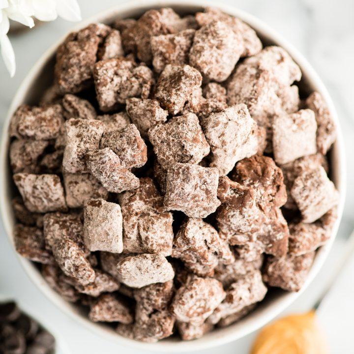 a bowl of Dark Chocolate Puppy Chow Recipe