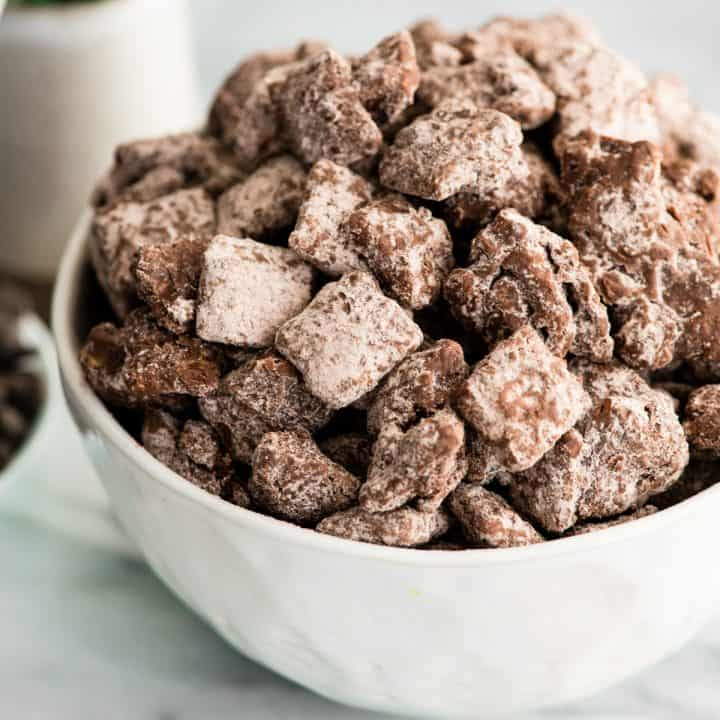 Side view of a bowl of Dark Chocolate Puppy Chow
