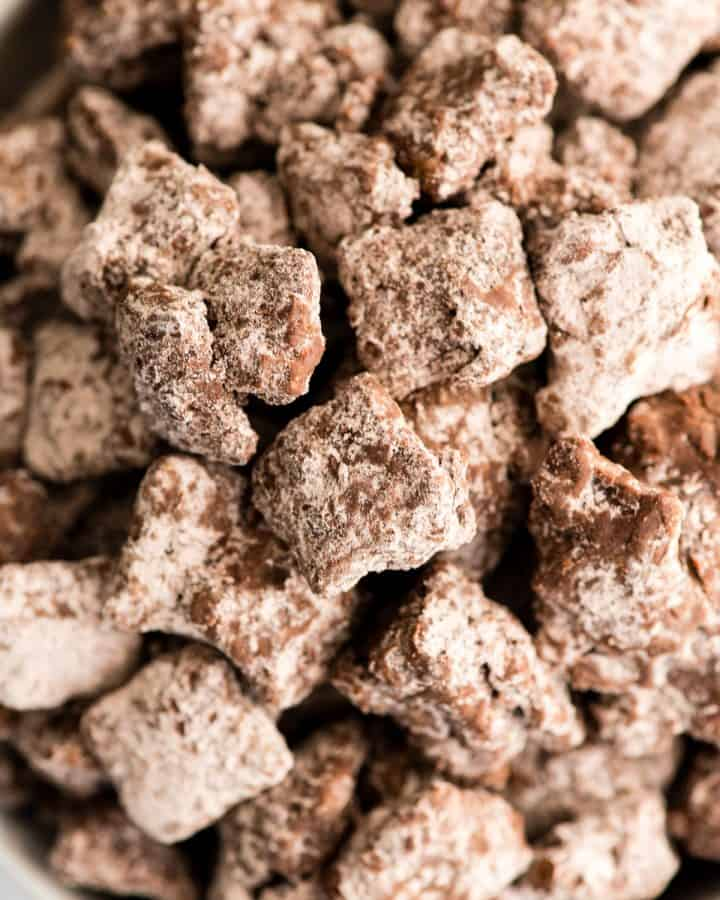 up close overhead view of Dark Chocolate Puppy Chow in  a bowl
