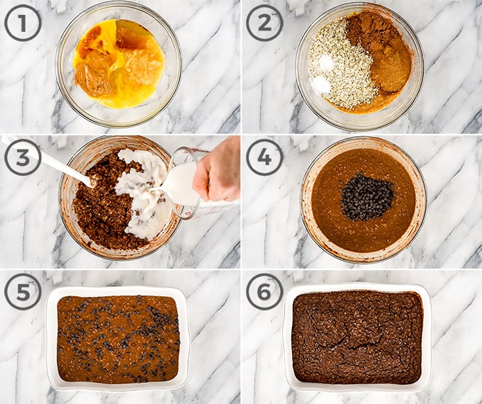 overhead view of six photos showing the steps in how to make this chocolate peanut butter baked oatmeal recipe