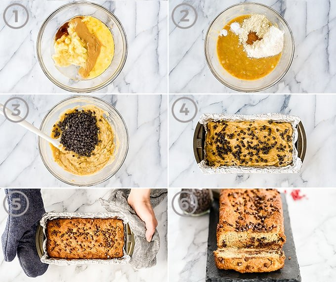 Six overhead photos showing the process of how to make paleo banana bread