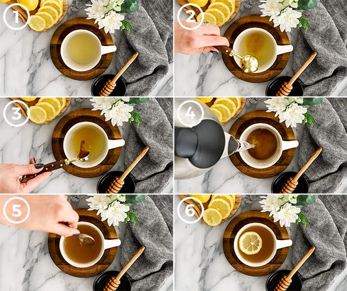 overhead view of six photos showing exactly how to make immune boosting tea