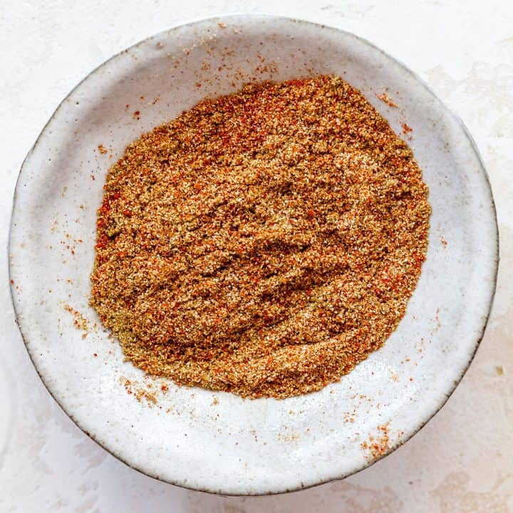 overhead view of the spice mixture in this sweet potato tacos recipe