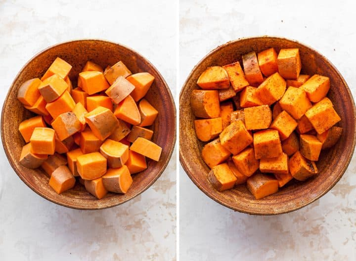 two overhead photos showing how to make sweet potato tacos