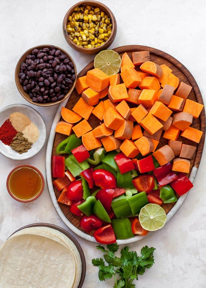 overhead view of the ingredients in this sweet potato tacos recipe