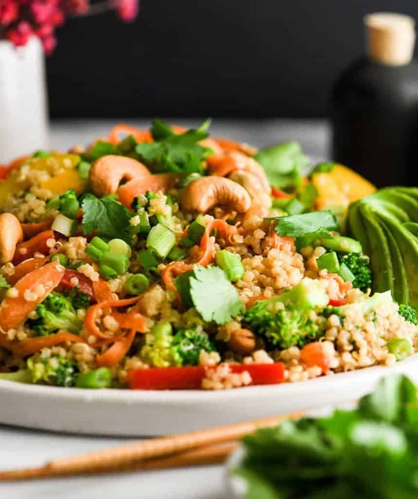 Side view of Asian Quinoa Salad with Peanut Dressing recipe