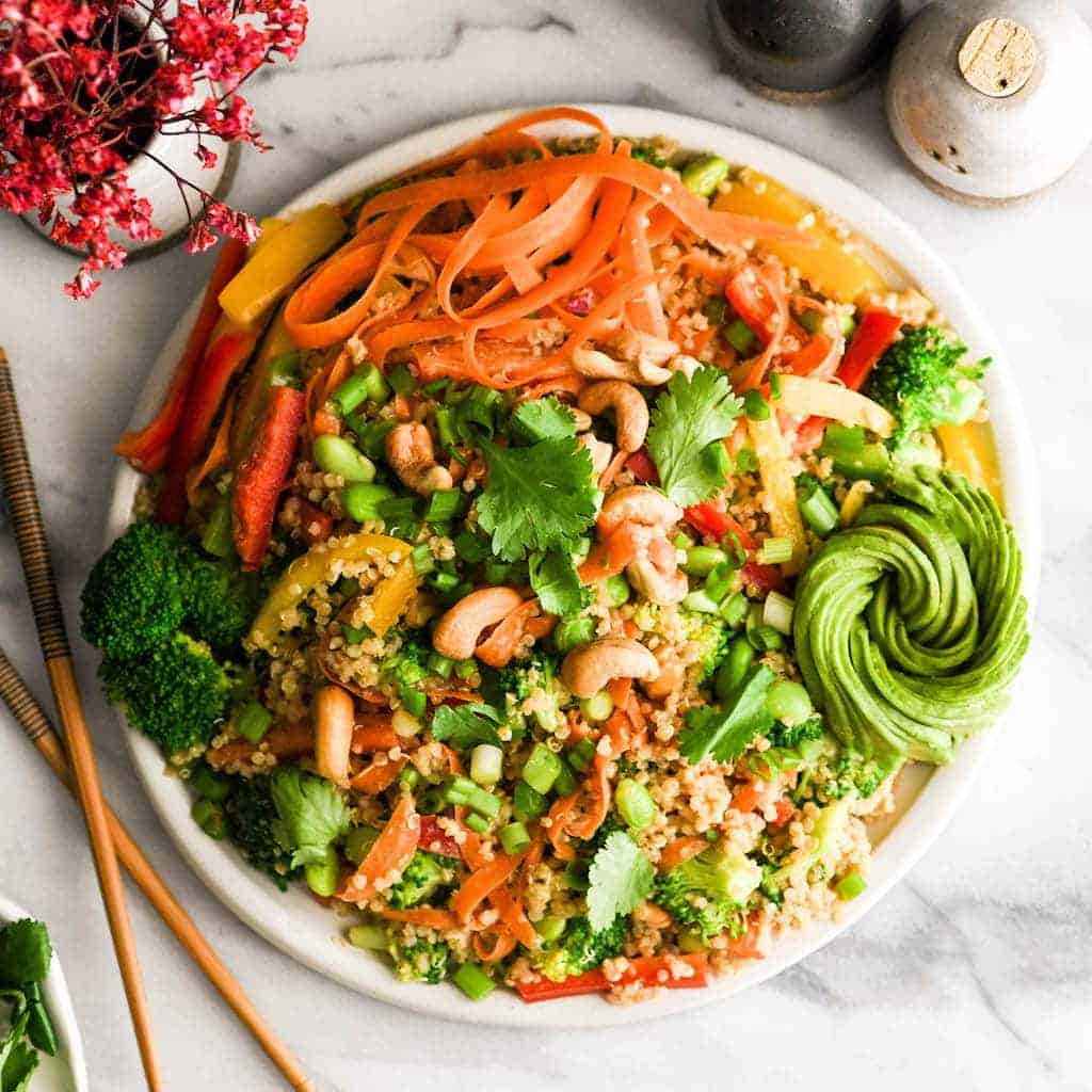 Asian Quinoa Salad With Peanut Dressing Joyfoodsunshine