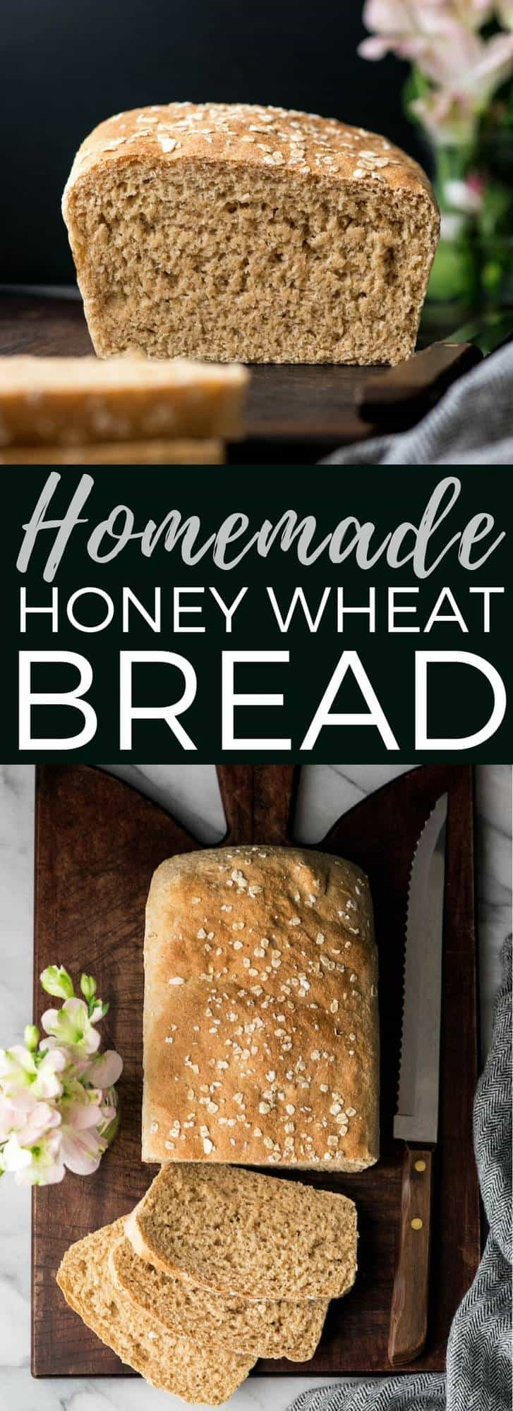 Homemade Honey Whole Wheat Bread is a dairy-free recipe that is perfect for sandwiches and toast! It's a straightforward, classic loaf of dense, sweet bread that's made with only 8 ingredients! #homemadebread #bread #wholewheat #wholewheatbread #honey