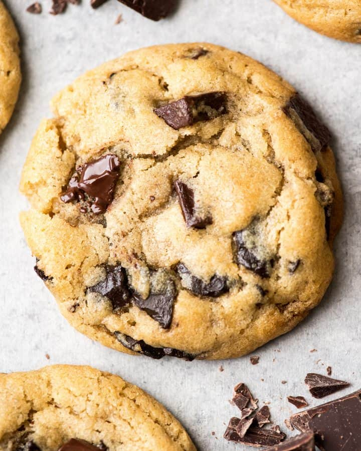 up close overhead view of one chocolate chip cookie