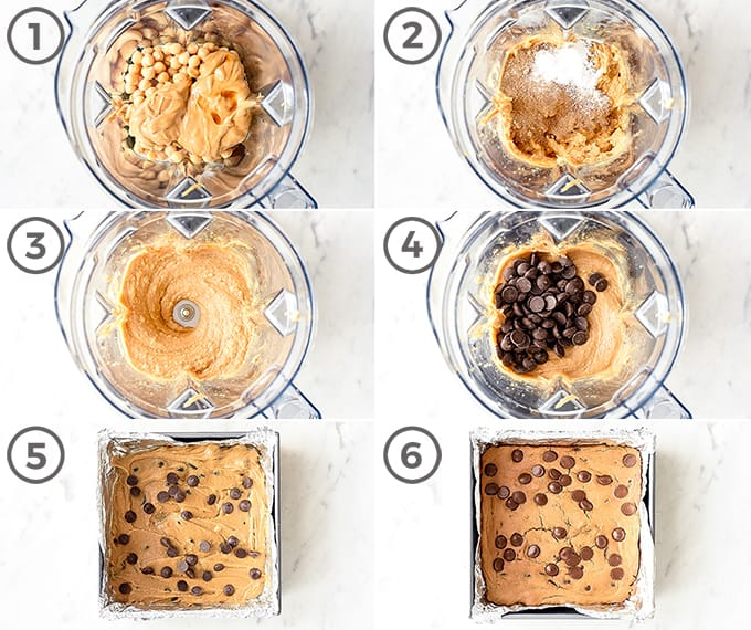 six overhead photos of the step-by-step process in making these chickpea blondies in the blender
