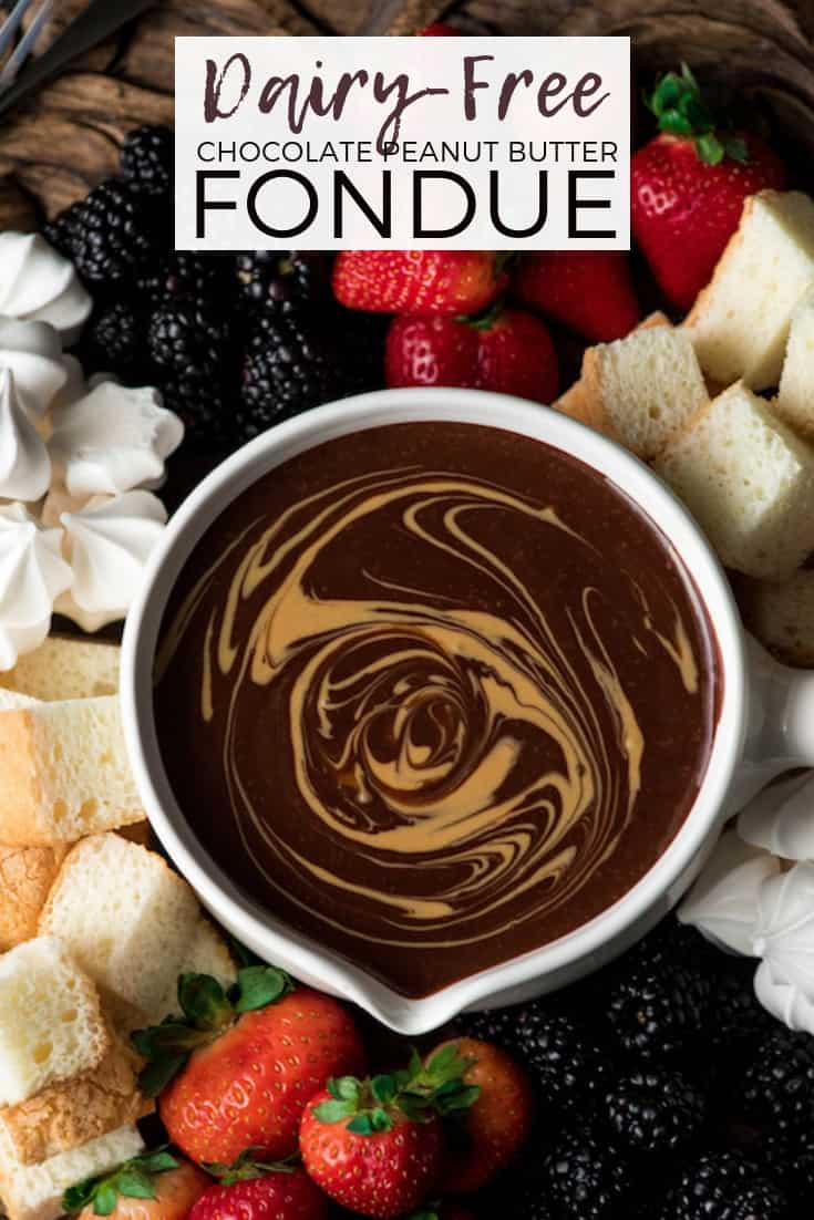If chocolate & peanut butter is your love language, then you need to make this Dairy-Free Chocolate Peanut Butter Fondue recipe! It's the perfect desert for Valentine's Day or to serve at a Galentine's Day Brunch! #vegan #glutenfree #dairyfree #chocolate #peanutbutter #fondue #dessert