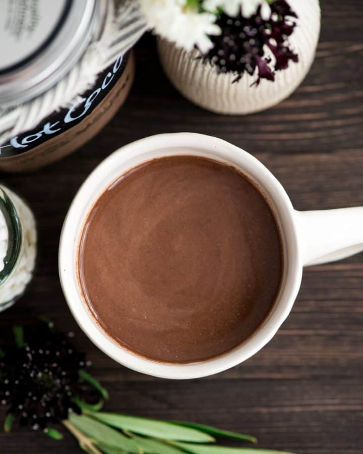 Overhead view of a mug of Dairy-Free Hot Chocolate Mix made into hot cocoa