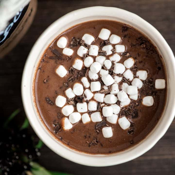 a mug of Dairy-Free Hot Chocolate mix made into hot cocoa topped with mini marshmallows and chocolate shavings
