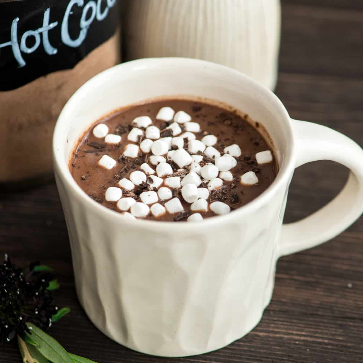 mug of hot cocoa made with Dairy-Free Hot Chocolate Mix which is in a glass jar in the background