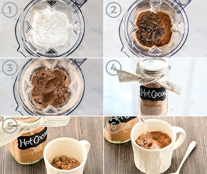 collage showing how to make dairy-free hot chocolate mix