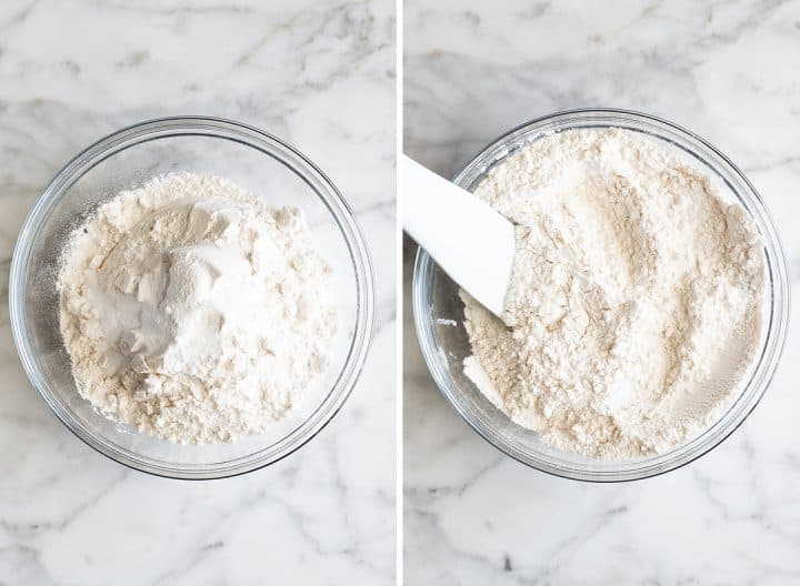 two photos showing How to make chocolate chip cookies - mixing dry ingredients