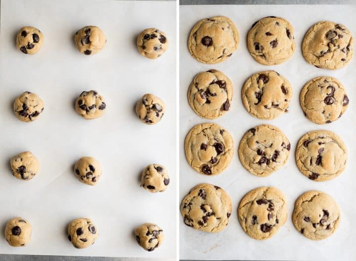two photos showing How to Make Chocolate Chip Cookies before and after baking on a baking sheet