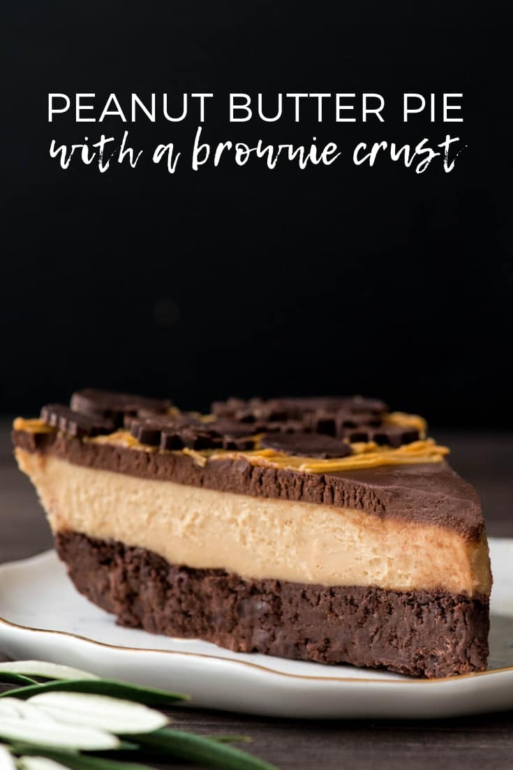 This Chocolate Peanut Butter Pie Recipe is everything a dessert should be {and more}. A creamy peanut butter filling sits on top of a fudgy brownie crust and is topped with a luscious chocolate peanut butter ganache. Plus it's gluten-free, grain-free and dairy-free! #dessert #chocolate #peanutbutter #pie #glutenfree #dairyfree #grainfree #recipe