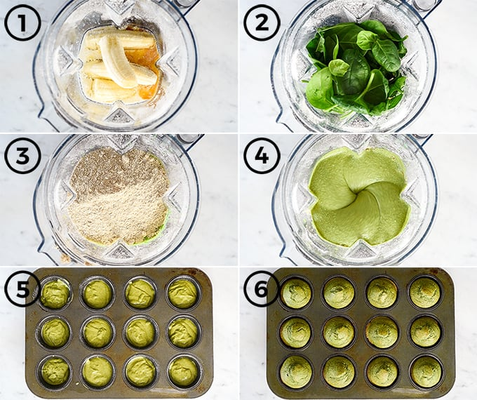 overhead view of six step-by-step photos showing how to make spinach banana muffins
