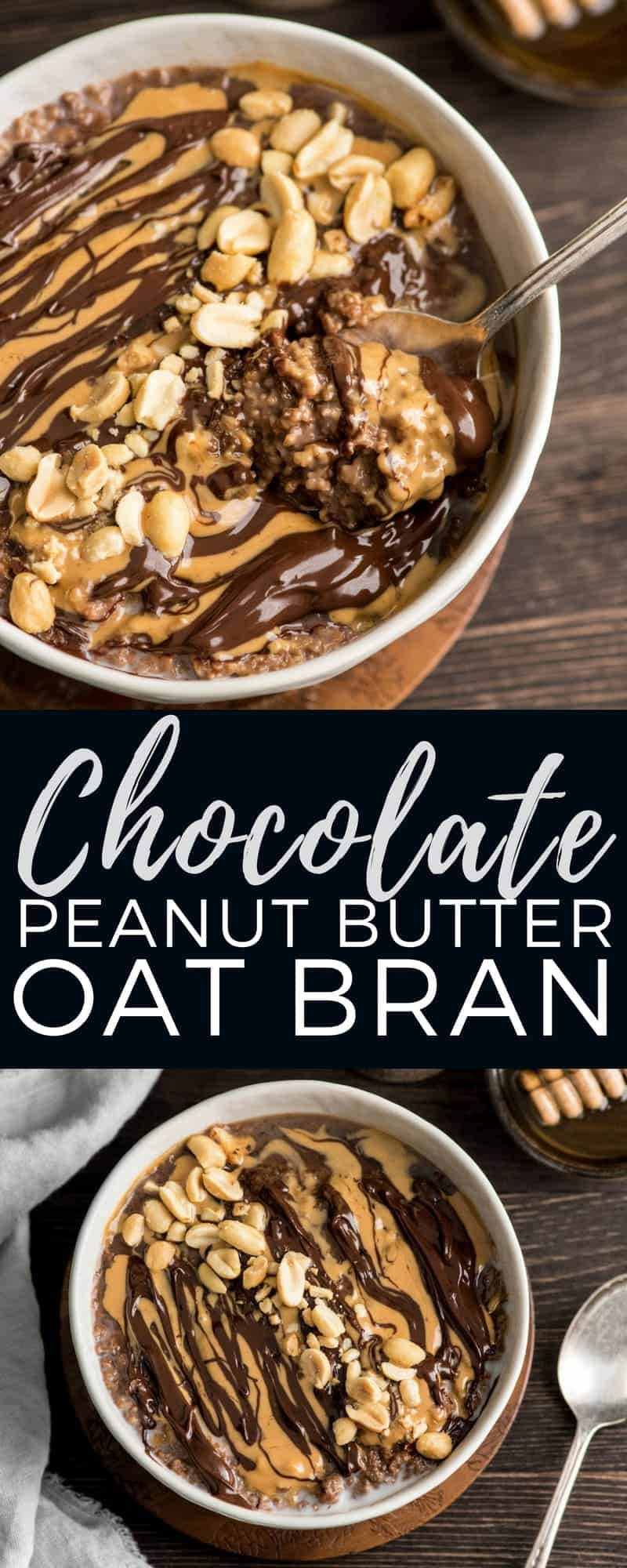 This Chocolate Peanut Butter Oat Bran is a super healthy breakfast recipe that tastes like a peanut butter cup and is ready in minutes! #glutenfree #dairyfree #vegan #peanutbutter #chocolate #oatbran #breakfastrecipe #breakfast