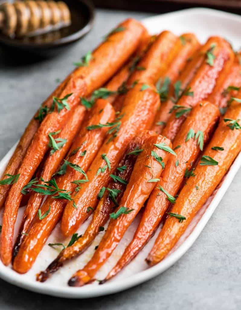 honey roasted carrots on a serving platter