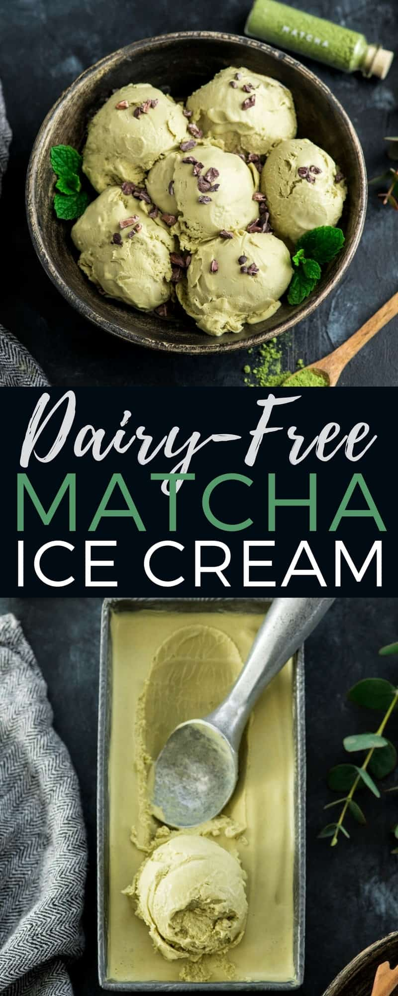 This Dairy-Free Matcha Ice Cream is so creamy and smooth that no one would guess it's healthy! #matcha #icecream #greentea #dairyfree #vegan #paleo #glutenfree #refinedsugarfree #dessertrecipe #healthydessert #healthyrecipe #recipevideo