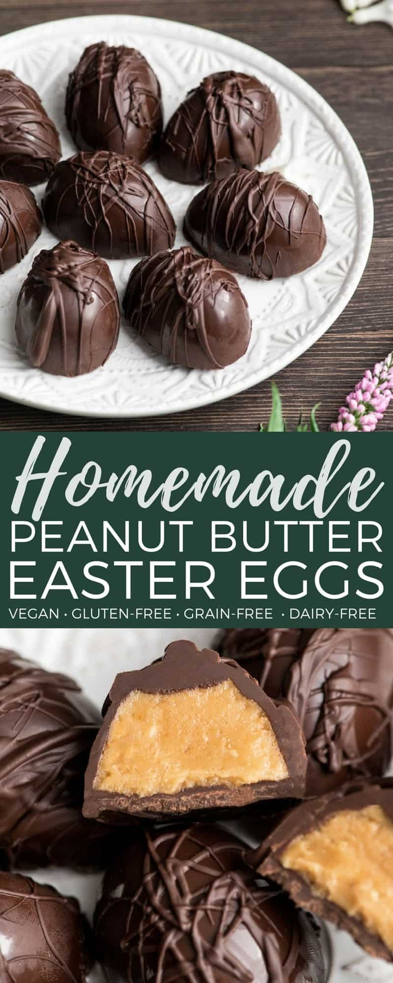 These homemade Vegan Peanut Butter Eggs are made with only 7 ingredients and are WAY tastier than any store-bought Easter candy! Plus they are gluten-free, dairy-free & vegan! #vegan #peanutbuttereggs #peanutbutter #easter #candy #chocolate #dessert #glutenfree #dairyfree