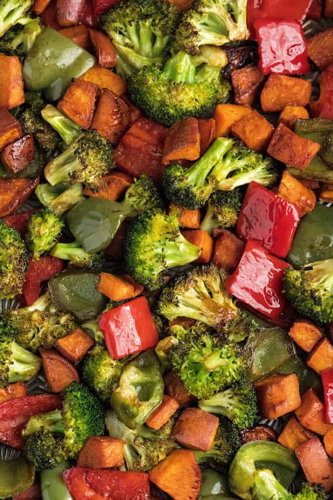 Up-close overhead view of balsamic roasted vegetables