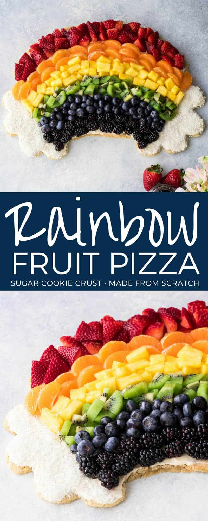 This Rainbow Fruit Pizza Recipe is a beautiful dessert that everyone will LOVE! The most delicious cream cheese frosting is spread over a chew sugar cookie crust and piled high with fruits in every color of the rainbow! The perfect dessert to feed a crowd! #rainbow #fruitpizza #fruit #dessert #creamcheesefrosting #sugarcookie