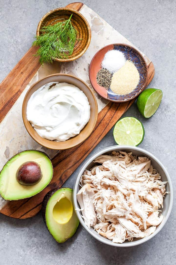 overhead view of the ingredients in this avocado chicken salad recipe