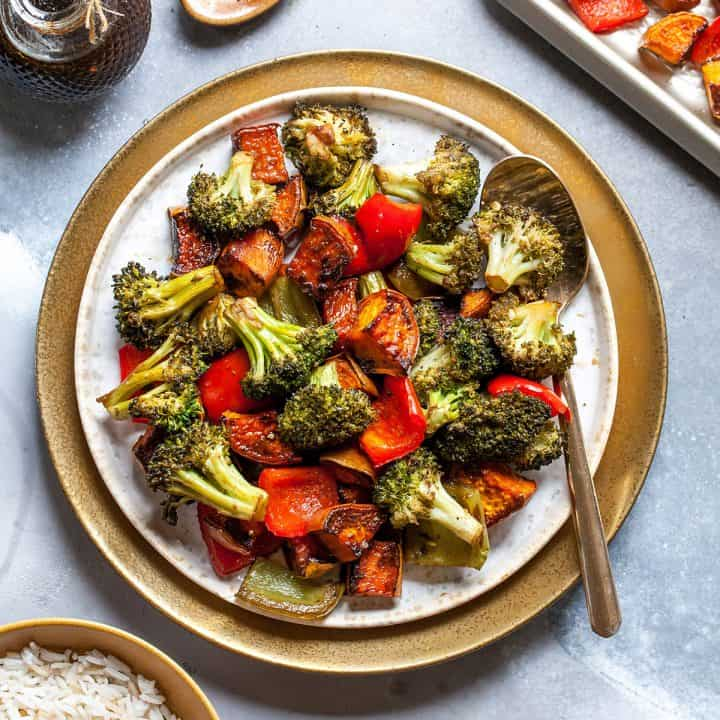 a plate of balsamic roasted vegetables