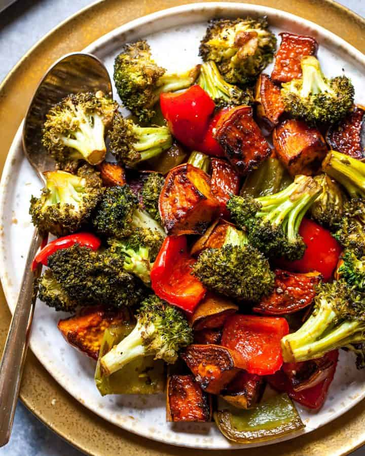 overhead view of a plate of balsamic roasted vegetables recipe