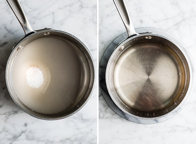 two overhead photos showing how to make flourless chocolate cake