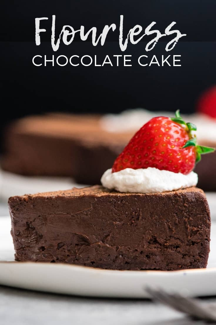 This BEST Flourless Chocolate Cake Recipe is a gluten-free dessert for serious chocolate lovers. It's made with only 7 ingredients and is the perfect make-ahead treat for any party! #glutenfree #flourless #chocolatecake #chocolate #dessert #recipe