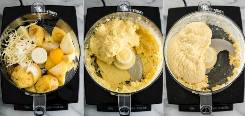 A collage with three overhead photos of a food processor with the lid off in different stages of making Homemade Potato Gnocchi