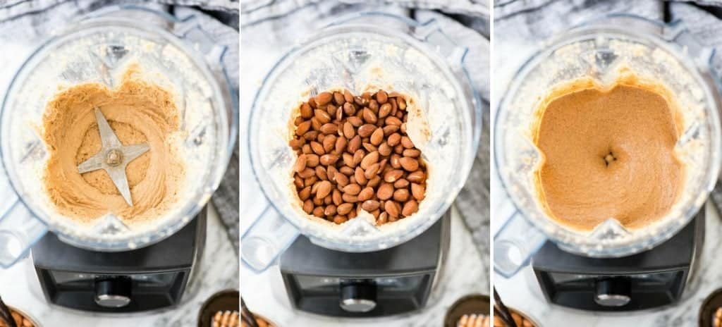 A collage of three overhead views of an open vitamix, the left photo has blended cashew butter, the middle photo shows almonds on top of the blended cashew butter, and the third shows the final blending of all the ingredients in the making of Homemade Vanilla Almond Butter Recipe with Sea Salt & Honey