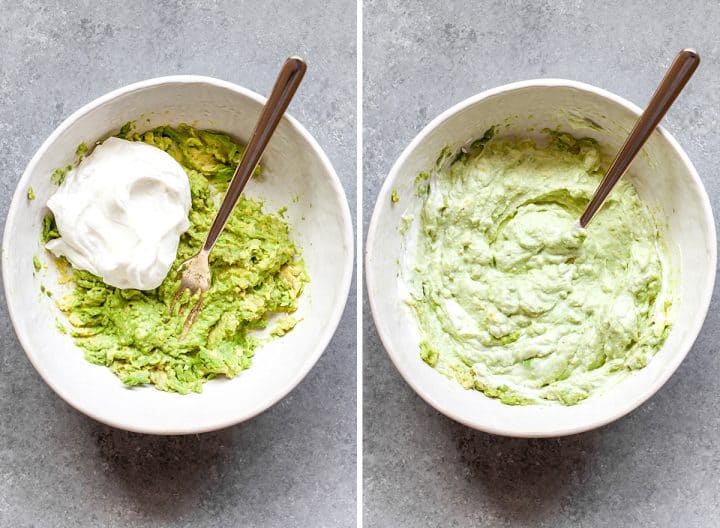 two overhead photos showing how to make avocado chicken salad