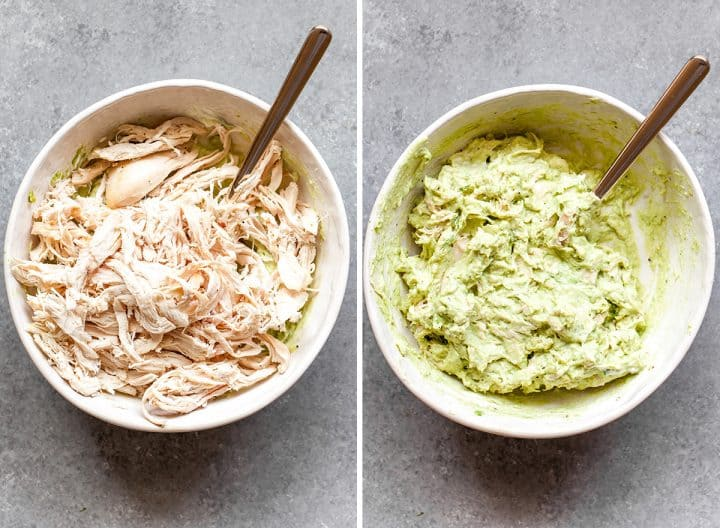 two overhead photos showing how to make avocado chicken salad recipe