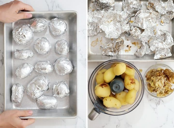 two overhead photos showing how to make gnocchi - baking potatoes